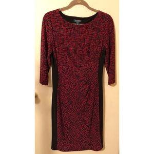Lauren Ralph Lauren ribbed black & red dress